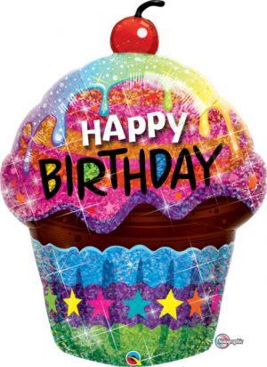 "35"" B-Day Dazzling Cupcake PKGD Balloons"