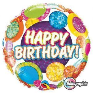 "18"" Birthday Dots Holographic Balloons"